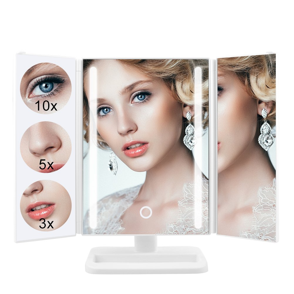 Makeup Vanity Table Mirror with Bright 24 LED Lights, Trifold 10X/5X/3X Magnification, Touch Screen Dimming, 180° Rotation, Batteries or USB Charging, Table Cosmetic Mirror (White)