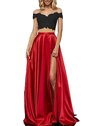 6b9a73eae2b Black and red Lace Satin Prom Dresses with Slit Long Two Piece Off Shoulder  Formal Evening