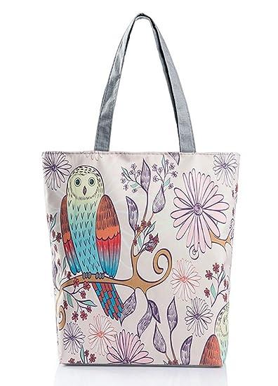 1d1d4b6f9547 VigourTrader Unisex Canvas Tote Shoulder Bag Owl Pattern