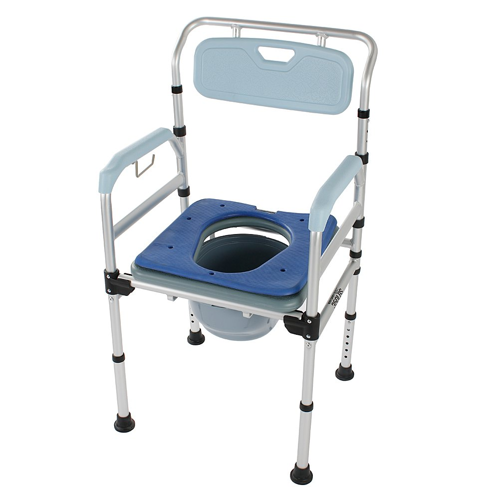 Mefeir Commode Toilet Chair Heavy Duty 330LBS, Medical Supply Folding with Safety Frame Rails Bedside, for Senior 3 in 1 Upgraded (Light Blue) by Mefeir (Image #1)