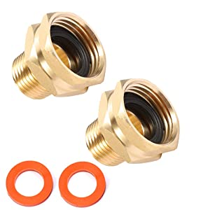 "Brass Garden Hose Adapter, 3/4"" GHT Female x 1/2"" NPT Male Connector,GHT to NPT Adapter Brass Fitting,Brass Garden Hose to Pipe Fittings Connect 2pcs (3/4"" GHT Female x 1/2"" NPT Male)"