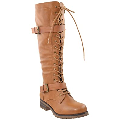 a085bdad50e Generation Y Womens Knee High Boots Lace Up Combat Leather Buckle Strap  Shoes Camel SZ 5.5