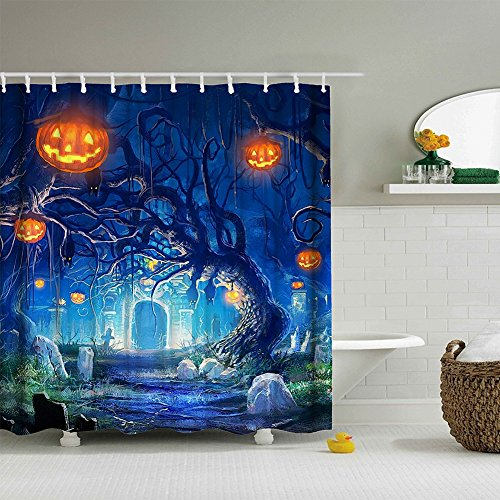 Muuyi Happy Halloween Shower Curtain, Cat Spider Owl Bat Tree Cemetery Design All Saints Day Pumpkin Day Image, Waterproof Polyester Fabric Bathroom Shower Curtains Set with Hooks - 72×72 Inches