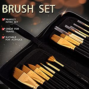 Art Paint Brushes Set by Mont Marte, Great for Watercolor, Acrylic, Oil-15 Different Sizes Nice Gift for Artists, Adults & Kids