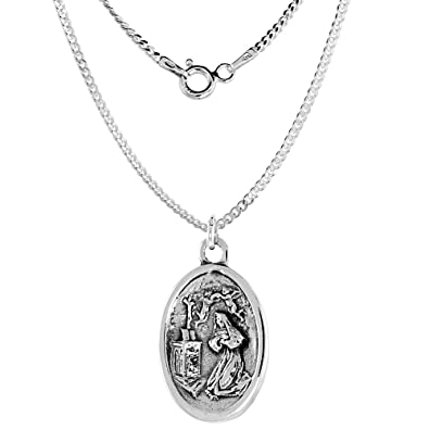 Amazon sterling silver mary magdalene medal necklace oval 16 sterling silver mary magdalene medal necklace oval 16 inch 18mm chain mozeypictures Choice Image
