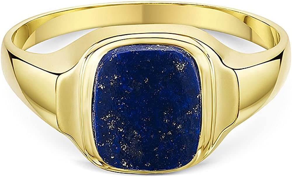 Theia Men's 9 ct Yellow Gold, Cushion Shape Signet Ring Lapis