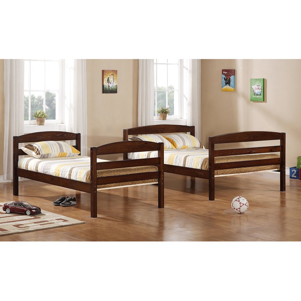 Amazon com  Walker Edison Twin Double Solid Wood Bunk Bed  Brown  Kitchen    Dining. Amazon com  Walker Edison Twin Double Solid Wood Bunk Bed  Brown