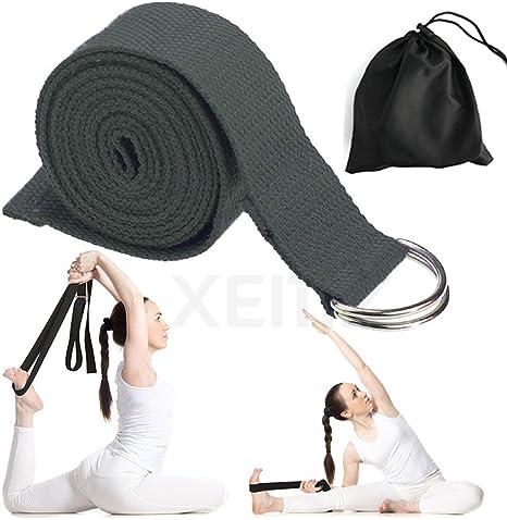 Correa de Yoga, Banda de Algodón para Sujetar Poses, Cinturón de Entrenamiento con Hebilla Ajustable en D, Cuerdas para Entrenamiento de Baile, Flexibilidad, Ballet, Terapia Física, Pilates: Amazon.es: Deportes y aire libre