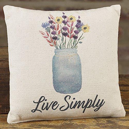 - Mason Jar Live Simply 8 x 8 Canvas Decorative Throw Pillow