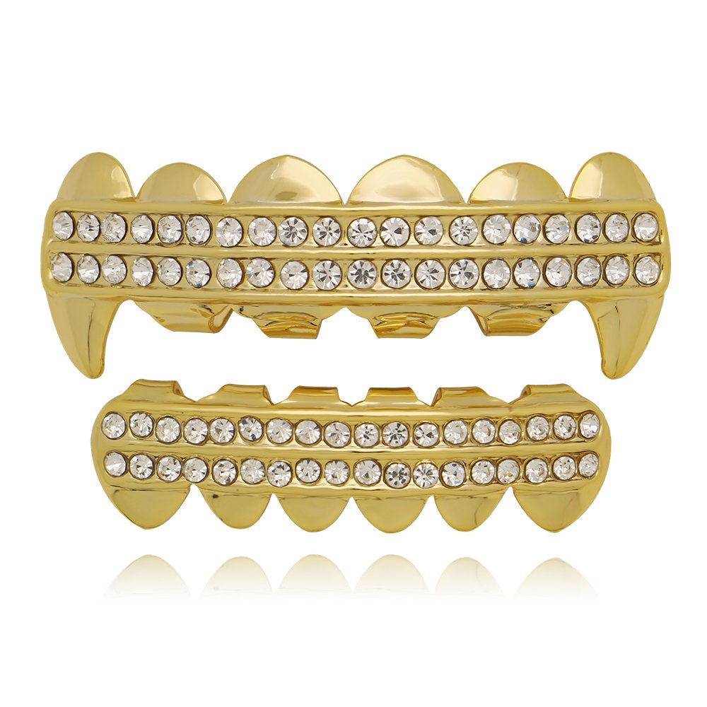 Lureen Gold Silver Grills Iced Out 2 Rows Bar CZ Teeth Vampire Fangs Top and Bottom Set LD0014