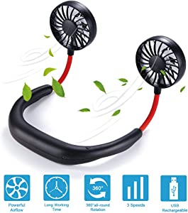 Hands Free Neck Fan Portable Fan Mini USB Personal Rechargeable Sports Wearable Neckband Fan 3 Speed Adjustable Headphone Design Suitable for Outdoor Indoor Office (Black red)