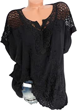 Blusa de Encaje de Verano para Mujer, Manga Corta, Blusa Blanca 5XL - Negro - XX-Large: Amazon.es: Ropa y accesorios