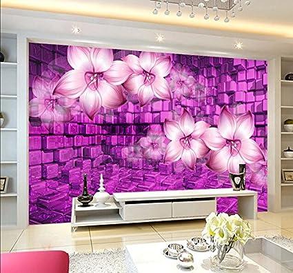Lwcx 3D Wallpaper Purple Flowers Stereoscopic Television Mural 3D ...