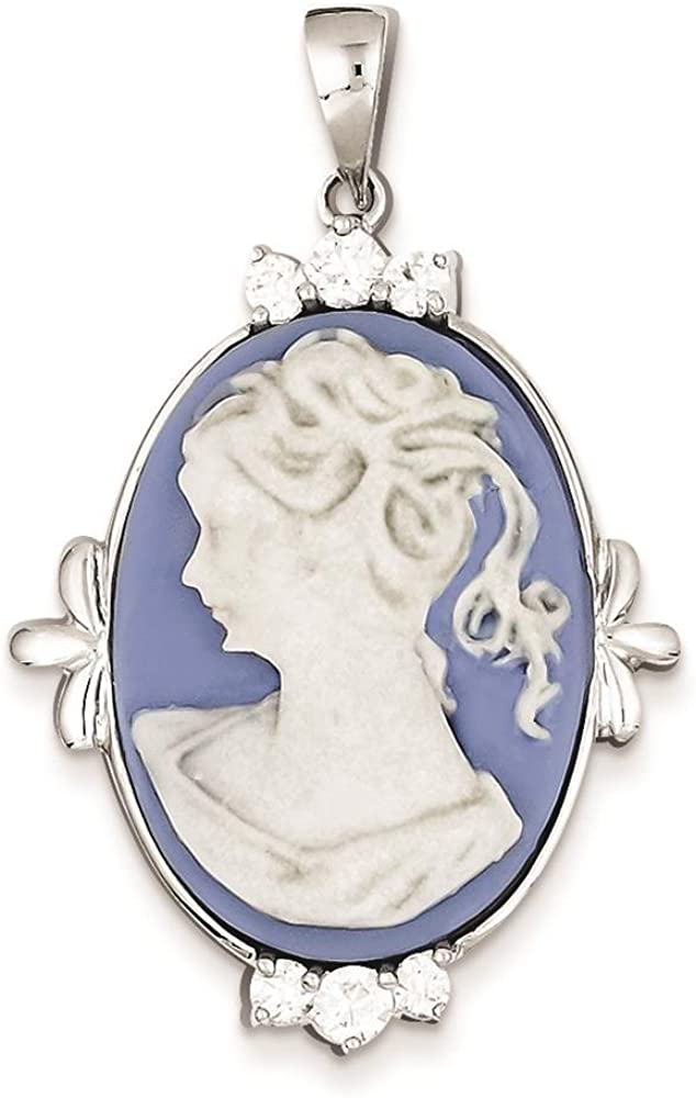 925 Sterling Silver Polished CZ /& Plastic Blue Cameo Charm Pendant