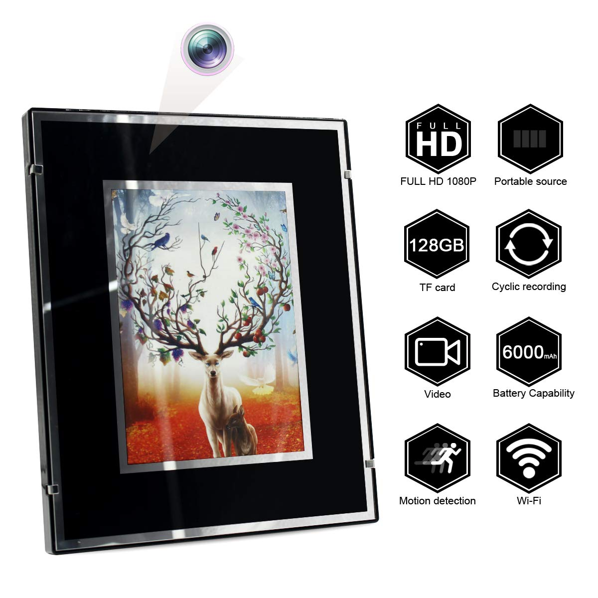 Indoor Portable Security Camera for Home Office Surveillance HD 1080P //6000mAh //Night Vision//Motion Detection//Loop Recording Wi-Fi Nanny Cam Winsper Hidden Spy Camera Photo Frame