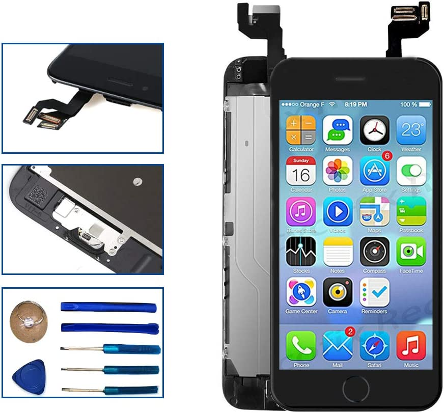 for iPhone 6s 4.7 inch Full Assembly LCD Screen Replacement Digitizer Frame Display Set with Front Camera Facing Proximity Sensor Earpiece Speaker Home Button (Black)