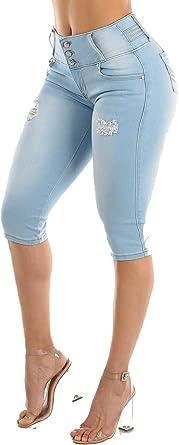 NEw Diva star colombian blue 3280  stretch levanta cola high waist capri shorts