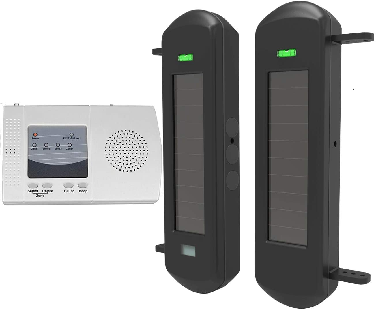 HTZSAFE Solar Wireless Driveway Alarm System-1 2 Mile Long Transmission Range-300 Feet Wide Sensor Range-No Wiring No Need Replace Battery-Outdoor Weatherproof Security Perimeter Alert System KIT