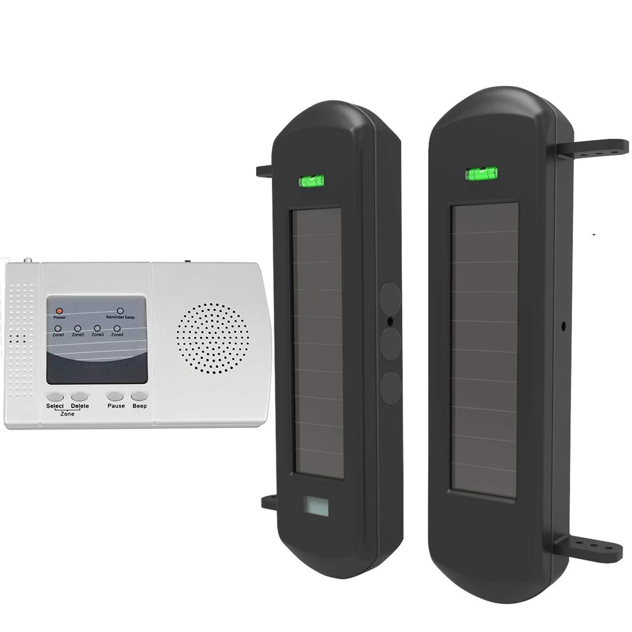 HTZSAFE Solar Wireless Driveway Alarm System-1/2 Mile Long Transmission Range-300 Feet Wide Sensor Range-No Wiring No Need Replace Battery-Outdoor Weatherproof Security Perimeter Alert System KIT by HTZSAFE