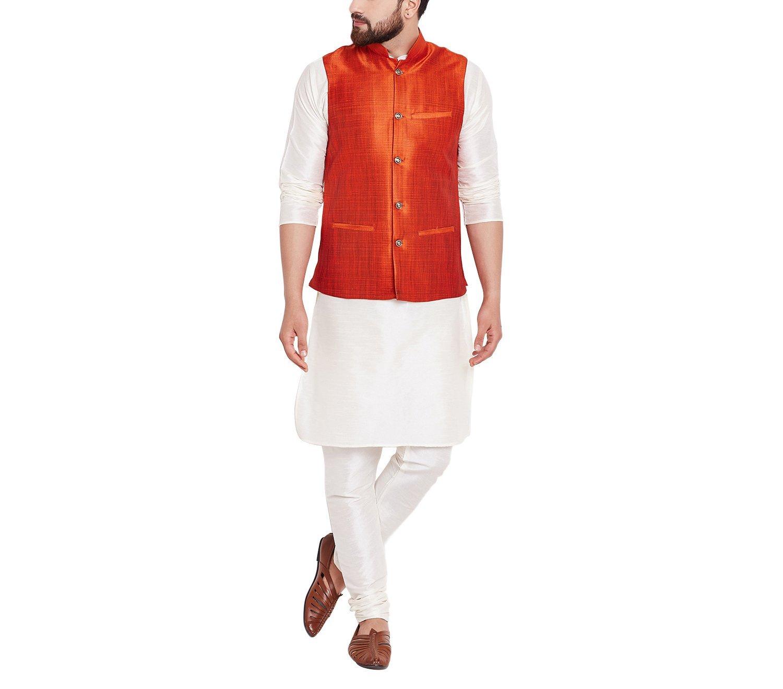 Sojanya Men's Dupion Silk Nehru Jacket Medium Dark Orange
