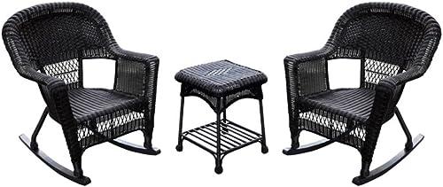 Jeco 3pc Wicker Rocker Chair Set