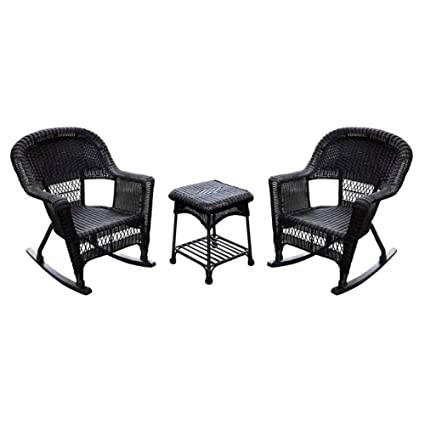 Charmant Jeco 3pc Wicker Rocker Chair Set In Espresso With Brown Cushion