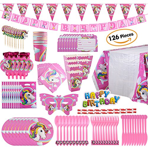 Heart Favor Box Kit (BELLA BAYS Unicorn Party Supplies Pack, Comes with Disposable Tableware and Birthday Party Decoration Set, Serve 10, All-In-One Value Kit, Perfect for Kids. Includes 16 Varieties 126 Pieces)