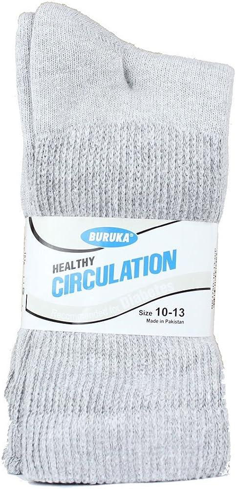 Buruka Healthy Circulation Compression Socks Diabetes Edema 3 Pairs 10-13 White