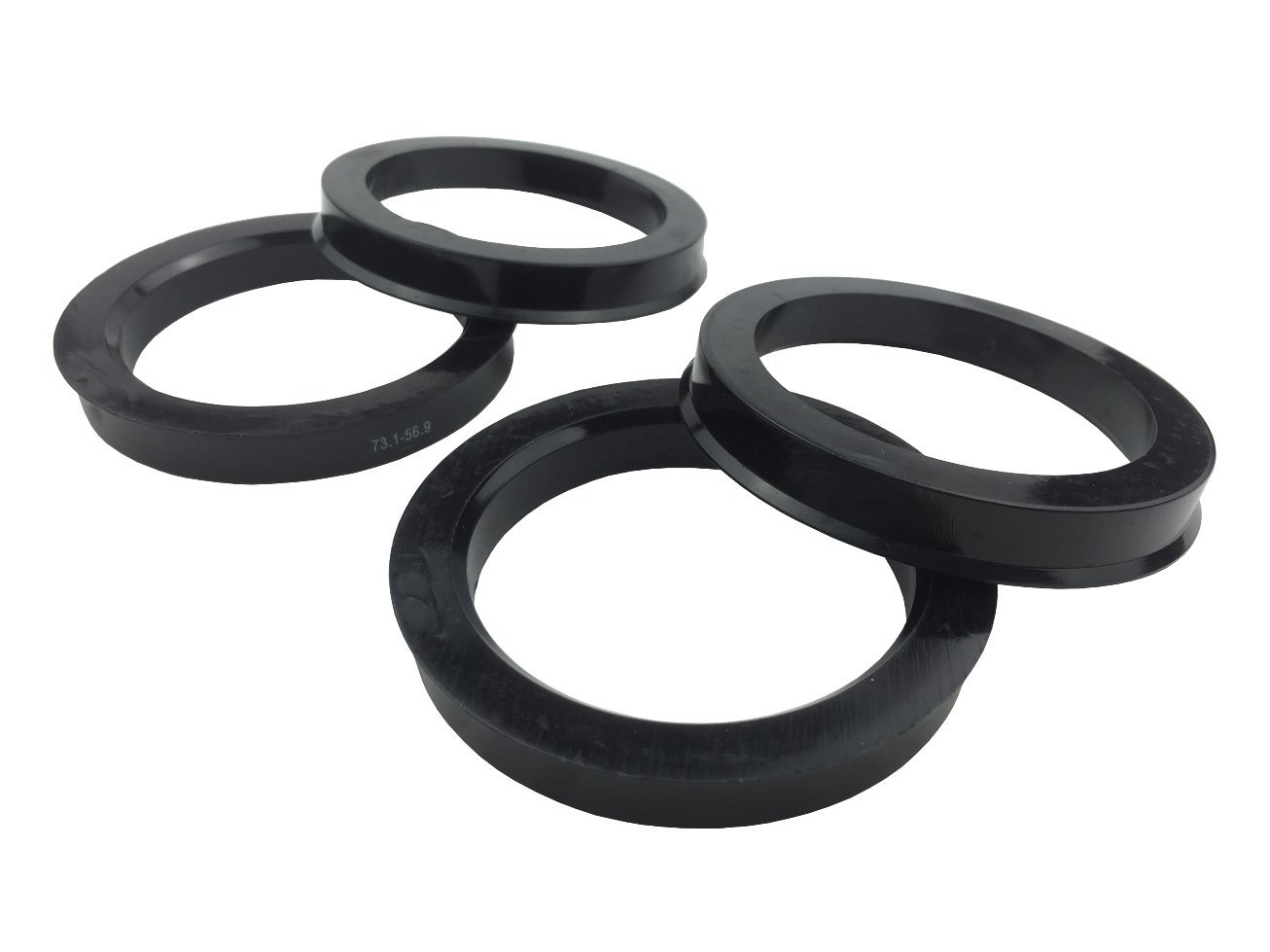 4 Pieces - Hub Centric Rings - 73.1mm OD to 56.9mm ID - Black Poly Carbon Hub Rings JianDa