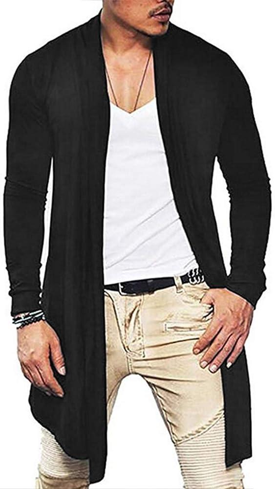 COOFANDY Mens Ruffle Shawl Collar Cotton Cardigan Long Kimono Jackets Open Front Drape Cape Coat