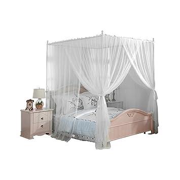 AuBergewohnlich UARTER 4 Eckpfosten Bett Vorhang Dacron Bett Baldachin Ultra Große  Moskitonetz Mit 4 Haken, Weiß