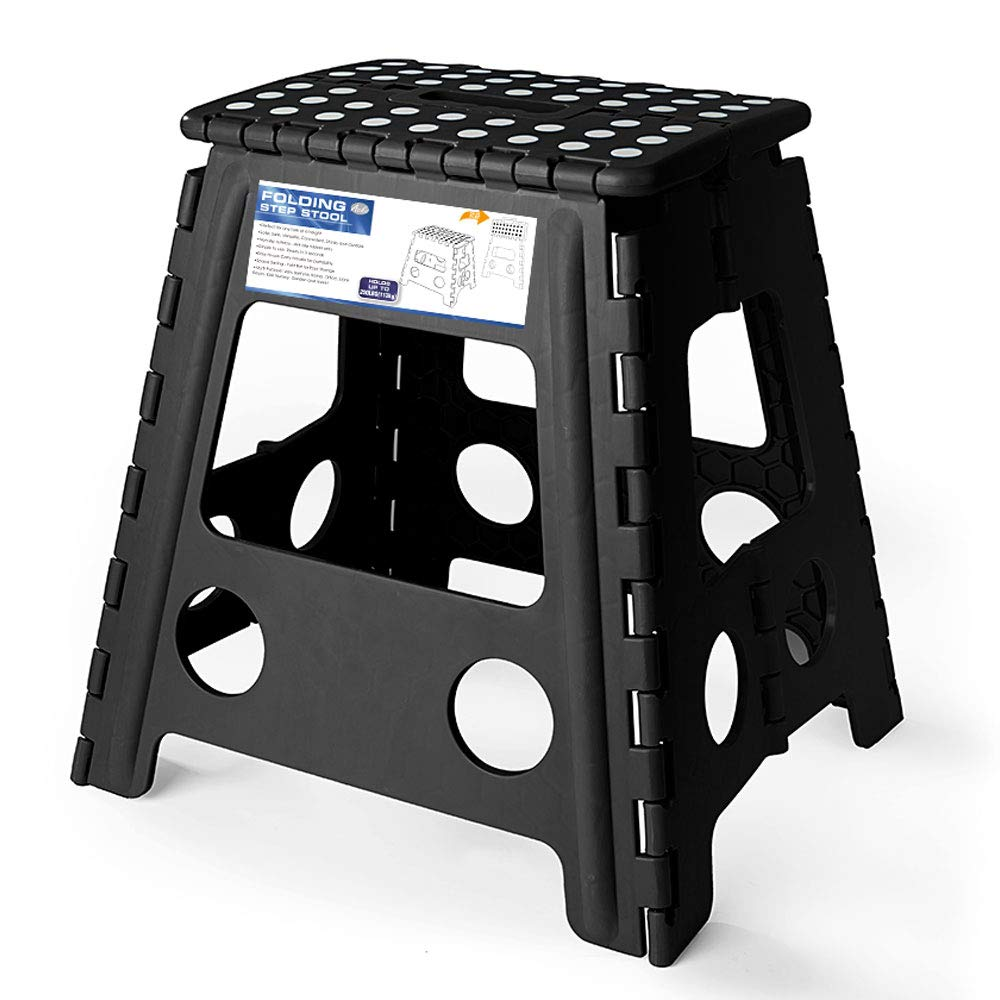 Acko 16 Inches Super Strong Folding Step Stool for Adults and Kids, Kitchen Stepping Stools, Garden Step Stool Black