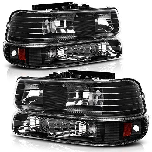 Headlight Assembly for 1999-2002 Chevy Silverado 1500 2500/2001 2002 Chevy Silverado 1500HD 2500HD 3500/2000-2006 Tahoe Suburban 1500 2500 Headlamp with Bumper Lights (Passenger And Driver Side)