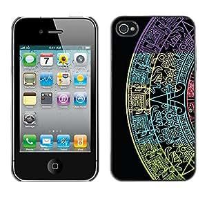 TopCaseStore / la caja del caucho duro de la cubierta de protección de la piel - Star Calendar History Ancient Black - Apple iPhone 4 / 4S