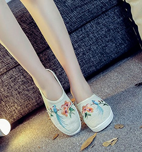 Womens Loafer Embroidery Round Linen Piano Ivory AvaCostume Songbirds Toe pCwdqqB