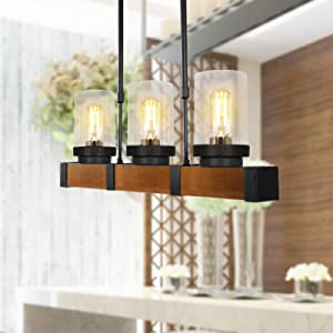 PUZHI HOME Wood Chandeliers 3-Light Kitchen Island Pendant Lighting Farmhouse Light Fixtures Hanging Diningroom Lamp for Kitchen Farm Barn