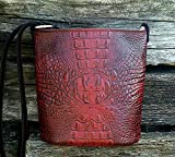 MoonStruck Leather Concealed Carry Purse - CCW Handbags Merlot Red Crocodile Embossed Leather - Made in the USA - Bucket