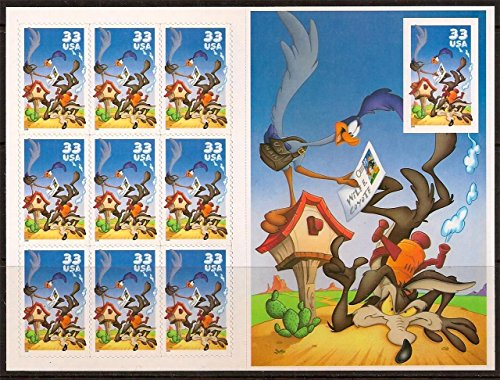 (USPS Road Runner & Wile E. Coyote Sheet with Imperforate Stamp Scott)