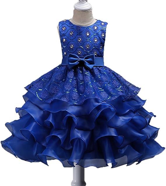 Shiny Toddler Vestidos de Fiesta para Chicas 7 a 8 Azul Real