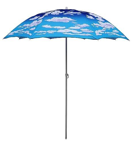 f6936ddd53 6.5' Portable Sunshade UV Protection 6.5ft Beach Umbrella Telescoping Pole  UV Protection UPF 50+ Cloud Design (6.5 FT, Cloud)