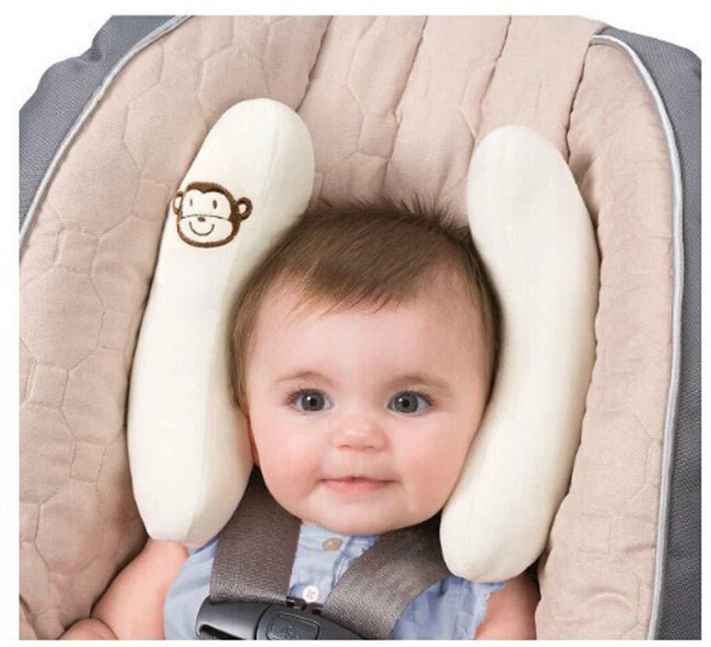 Monaten Nackenkissen mit kleinem Rassel-Affen f/ür Babys und Kleinkinder ab 6 Nackenkissen Kinder Nackenst/ütze AFFE Babyschale oder Auto St/ützt in Kinderwagen