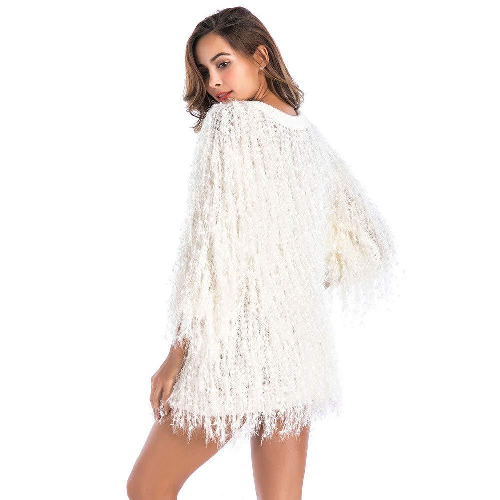 beautyjourney Jersey de Punto de Piel Sintética de Las Mujeres Tops Blusa Corta Camisa de Puente con Cuello Redondo y Mangas 3/4 Color Sólido, Talla única: ...