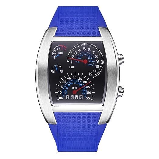 Cuadro de la aviación TVG LED FECHA semana Digital hombres mujeres reloj (azul)