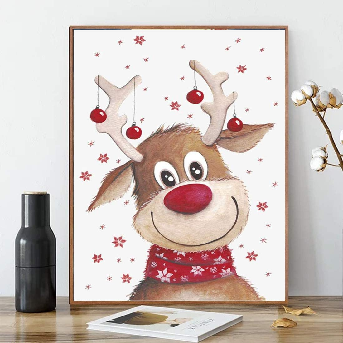 Amazon Com Acengxi Christmas Paint By Numbers Diy Deer Canvas Santa Claus Acrylic Painting Home Decor Reindeer For Adults Kids 16x20in