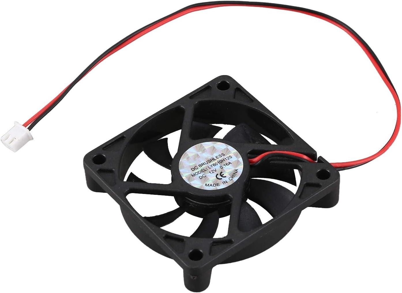 Semoic Ventilador de refrigeracion Enfriador de 2 Pines 60mm DC 12V 0.16A Caja de PC de Escritorio: Amazon.es: Electrónica