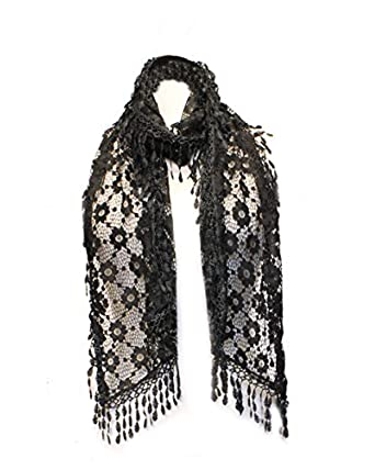 9d069fe147e40 AN Black Crochet Scarf Lace Shawl Beautiful Evening Cocktail Rectangle  Accessory