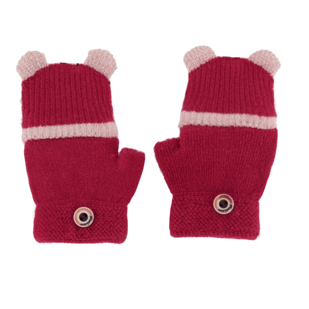 Knitted Gloves Winter Toddlers Warm Cotton Wool Mittens For Children Boys Girls