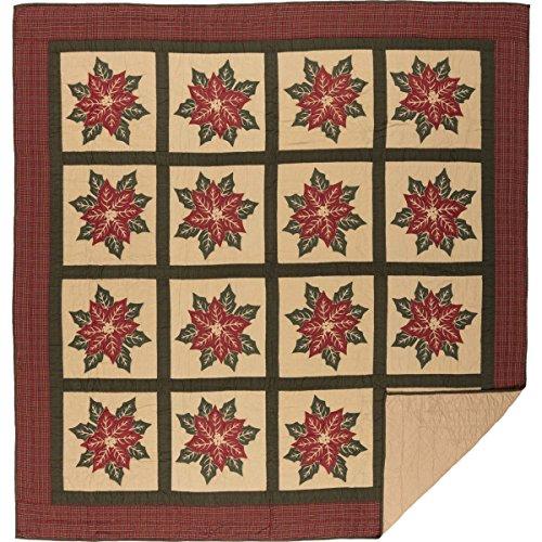 VHC Brands Seasonal Bedding National Museum Poinsettia Block Tan Quilt, Queen,