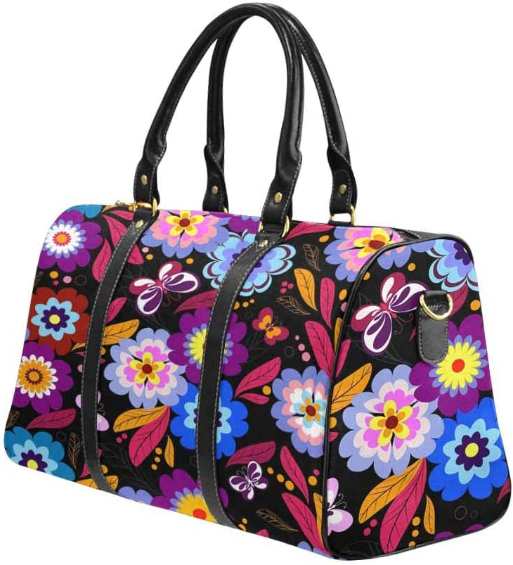 Retro Flowers Leaf Travel Lightweight Waterproof Foldable Storage Carry Luggage Large Capacity Portable Luggage Bag Duffel Bag