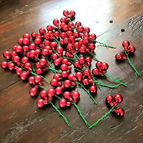 32 Super Festive Red Christmas Ball Clusters, 32 bundles of 3, 16 Shiny, 16 Matte Finish, Each Glass Ball With Stem is 3/4 Diameter and 1 1/2 Inches Tall, By Whole House Worlds Soft Green Ball Ornament